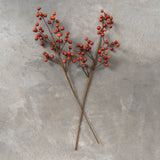 faux red berry floral stem