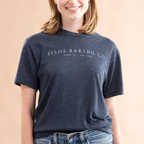 grey-blue silos baking co logo shirt