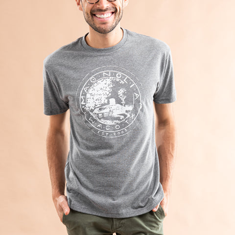 heathered grey t-shirt with original magnolia farm seal in white