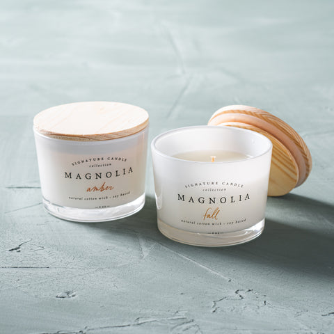 magnolia fall candle bundle with two 4 ounce candles