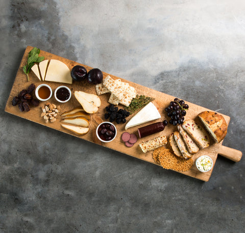 large rectangular wooden serving board