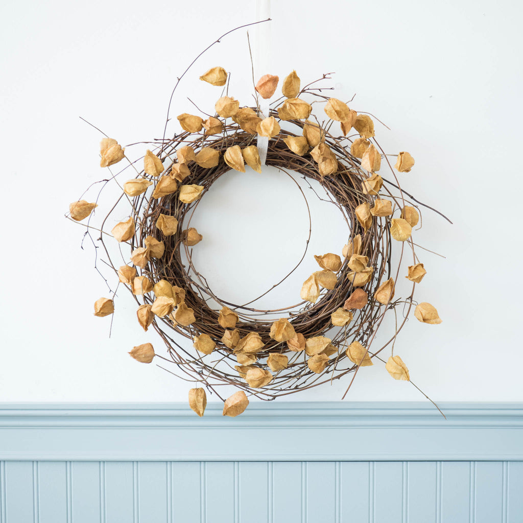 faux chinese lantern plant wreath