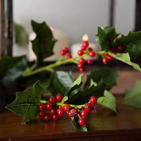 artificial holly stem with red berries