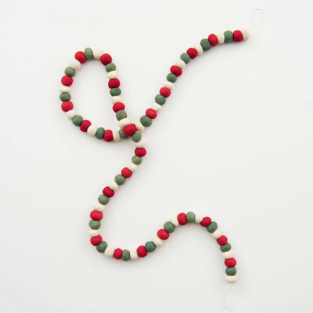 red white and green felt ball christmas garland