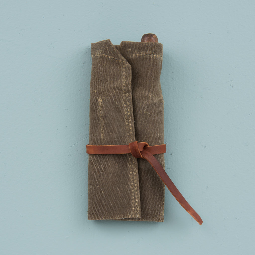 waxed canvas roll up utility pouch with leather tie