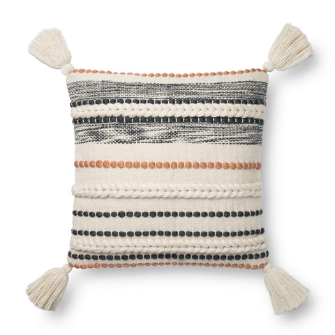 white square pillow with orange and black raised texture stripes and white tassels