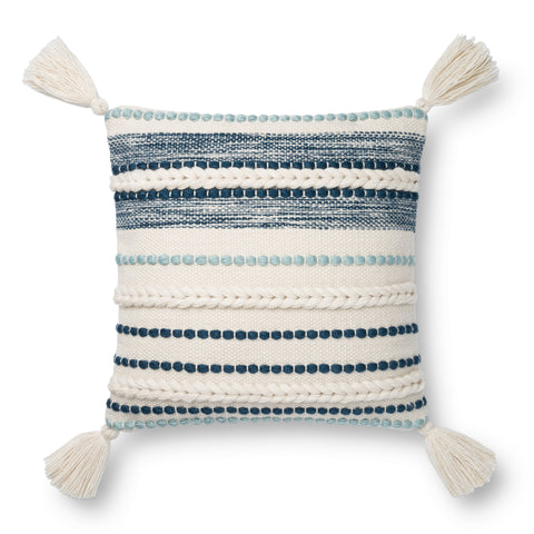 white square pillow with light blue and navy raised texture stripes and white tassels