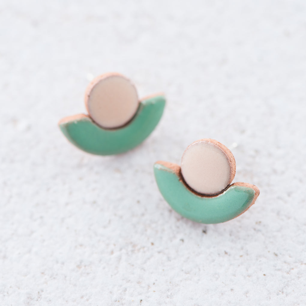 painted clay half circle stud earrings