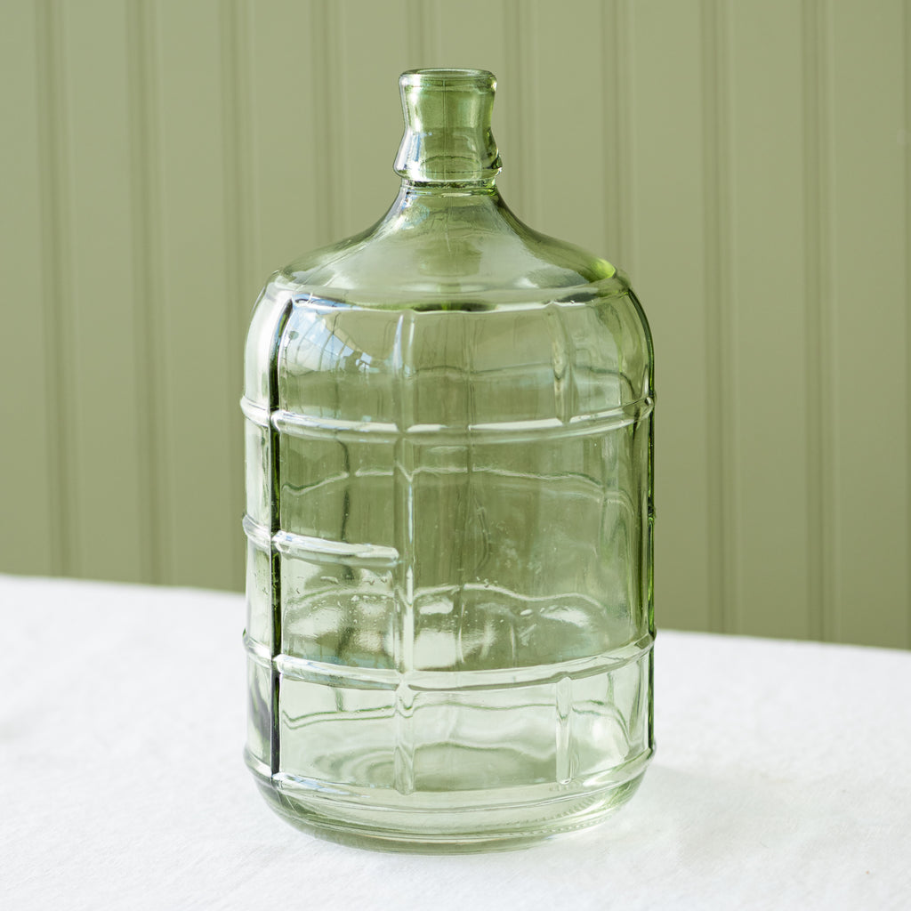 large green etched glass jug vase