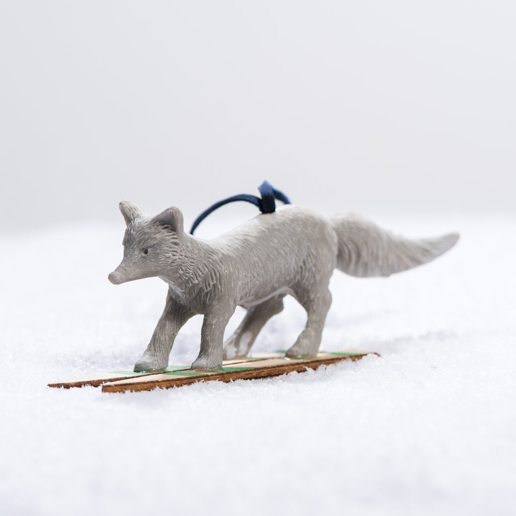 fox on skis christmas ornament