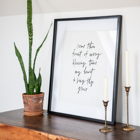 Framed 'Come Thou Fount' Script
