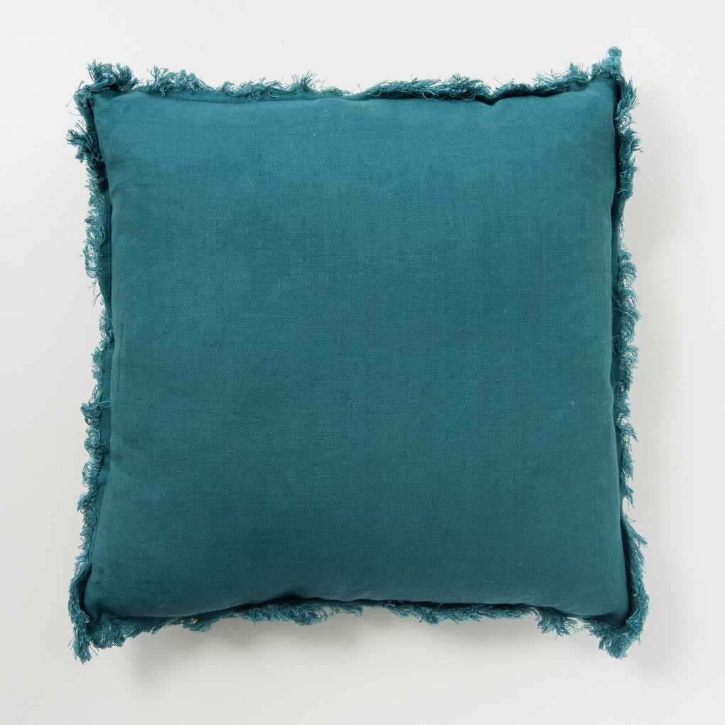 dark teal frayed edge linen pillow