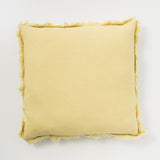 lemon yellow frayed edge linen pillow
