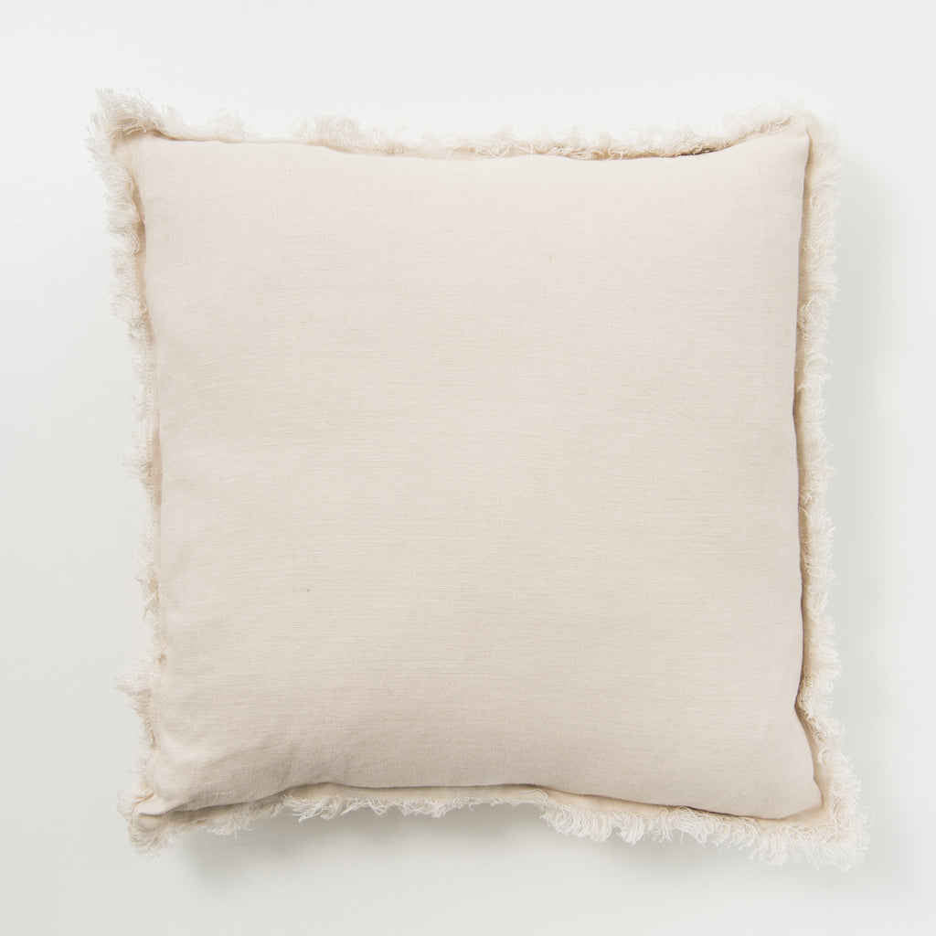 light tan frayed edge linen pillow