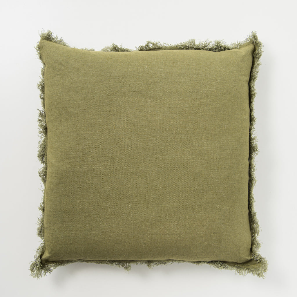 olive frayed edge linen pillow