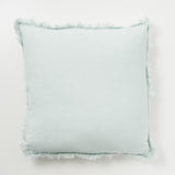 sky blue frayed edge linen pillow