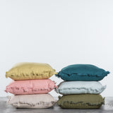 frayed edge linen pillow