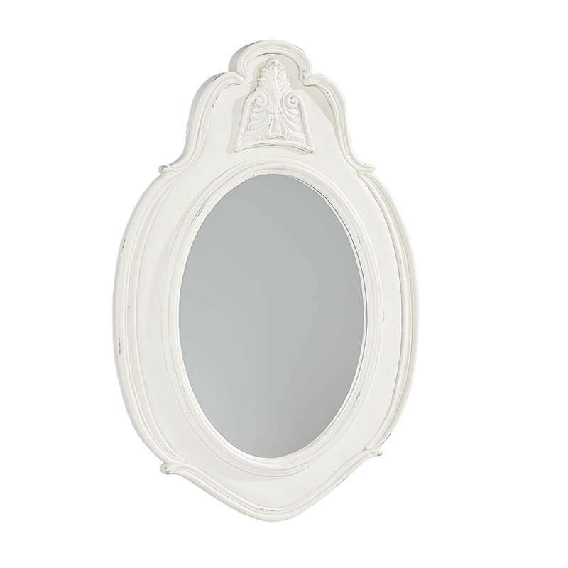 white wooden oval wall mirror with french style detail