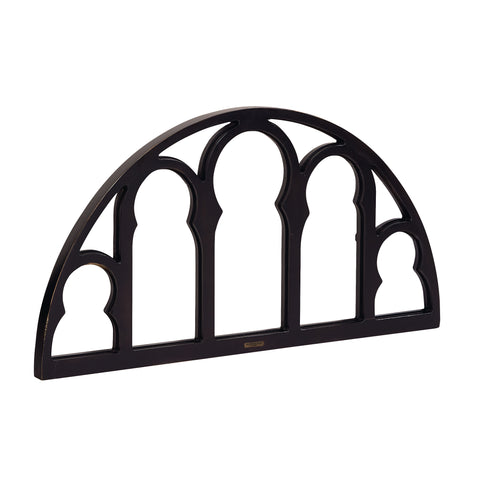 black wooden cathedral style window arch