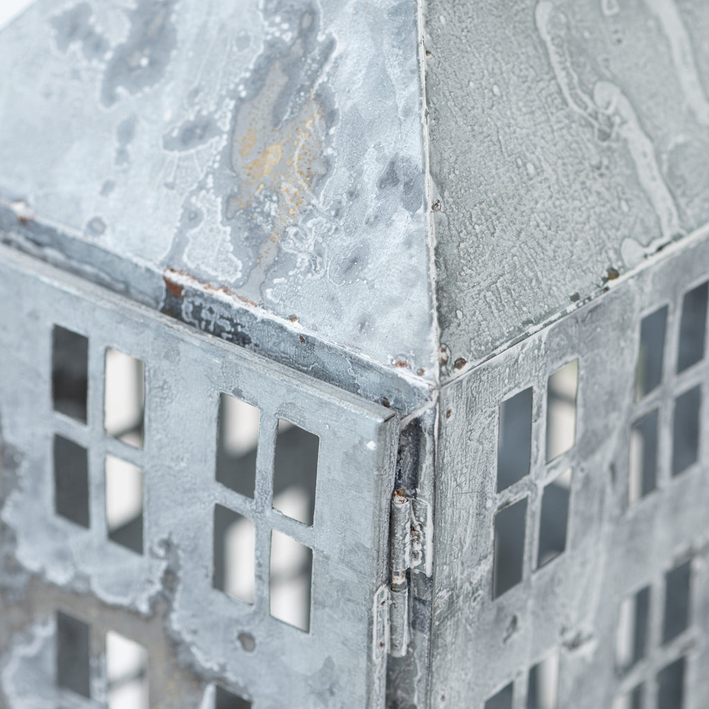 galvanized metal building shaped candle lantern