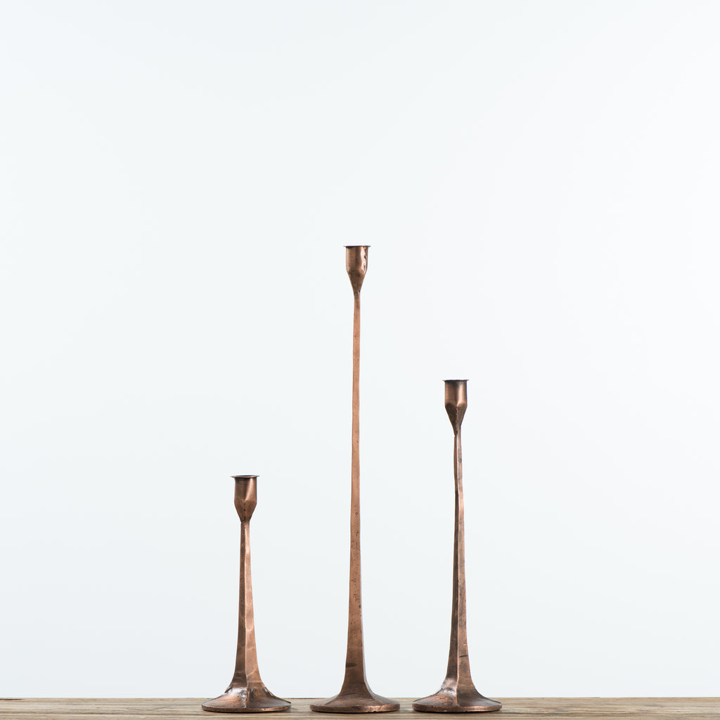 copper metal taper candleholders