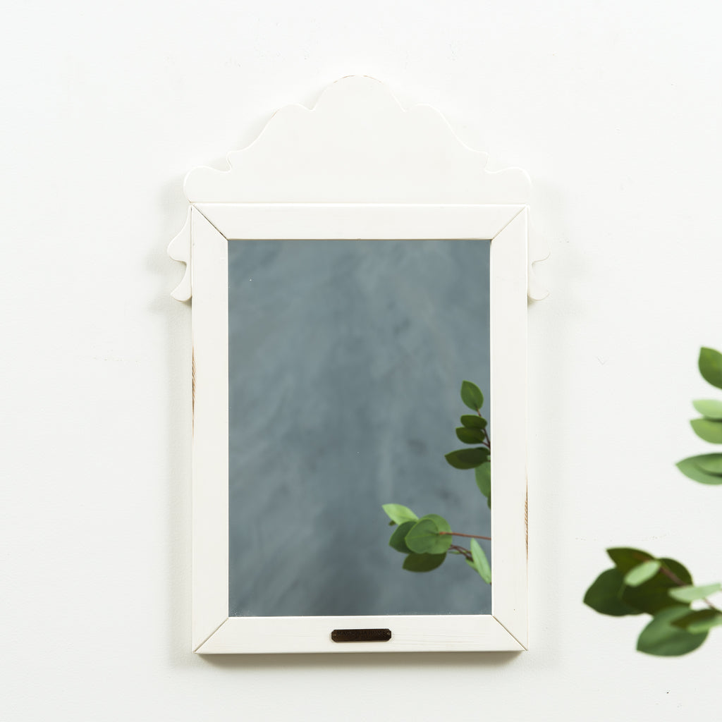 grey wooden decorative mirror