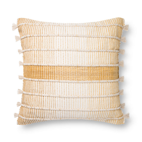 white and gold striped pillow with raised texture and side tassels