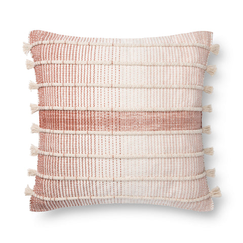 white and brick red striped square pillow with raised texture and side tassels