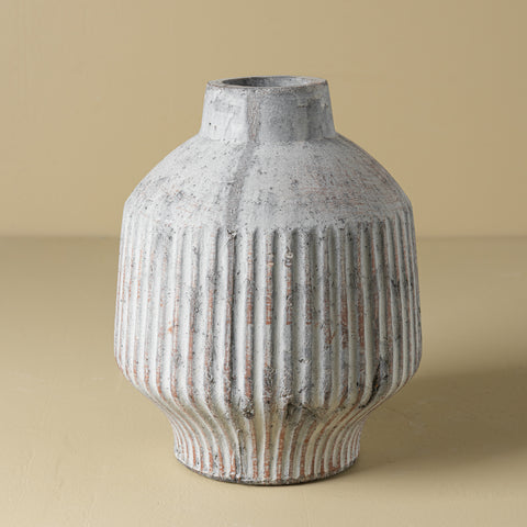 grey pleated ceramic jug vase