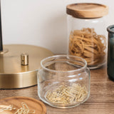 glass storage canister with acacia lid