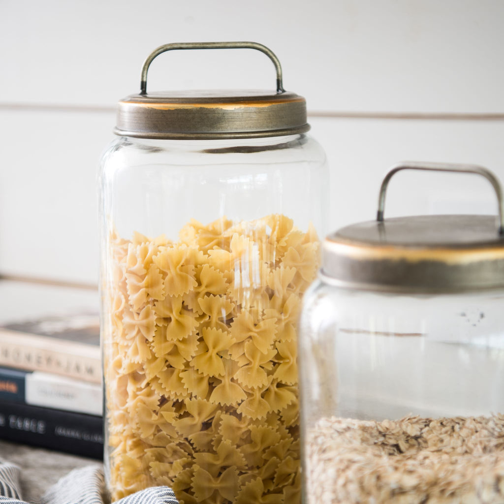 glass storage canister with brass lid