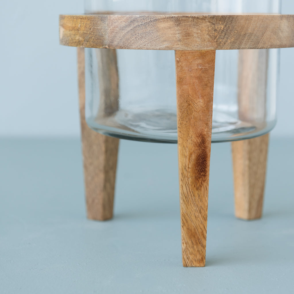 glass hurricane vase with moravia wood stand