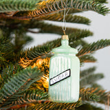 mint green glass sugar jar christmas ornament