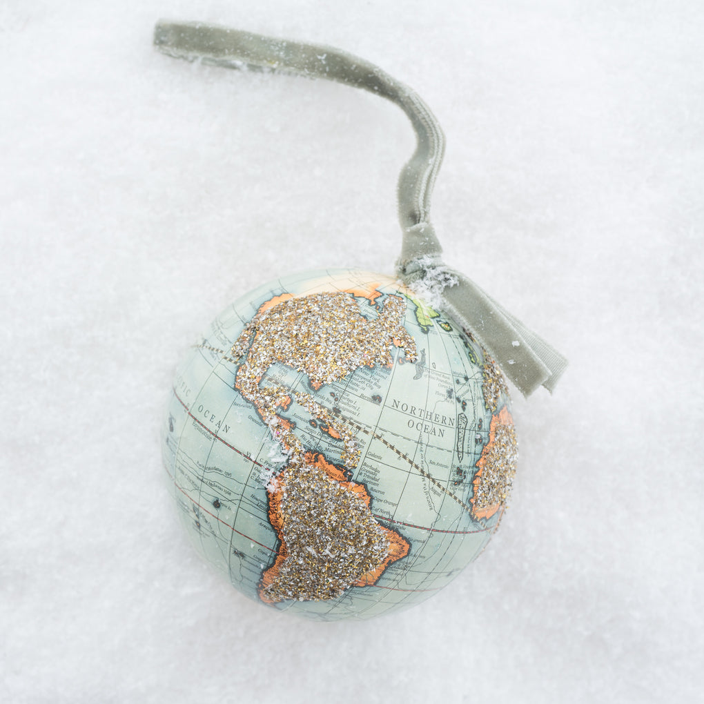 glittered globe christmas ornament