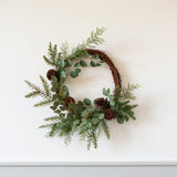 cedar and dogwood asymmetrical wreath