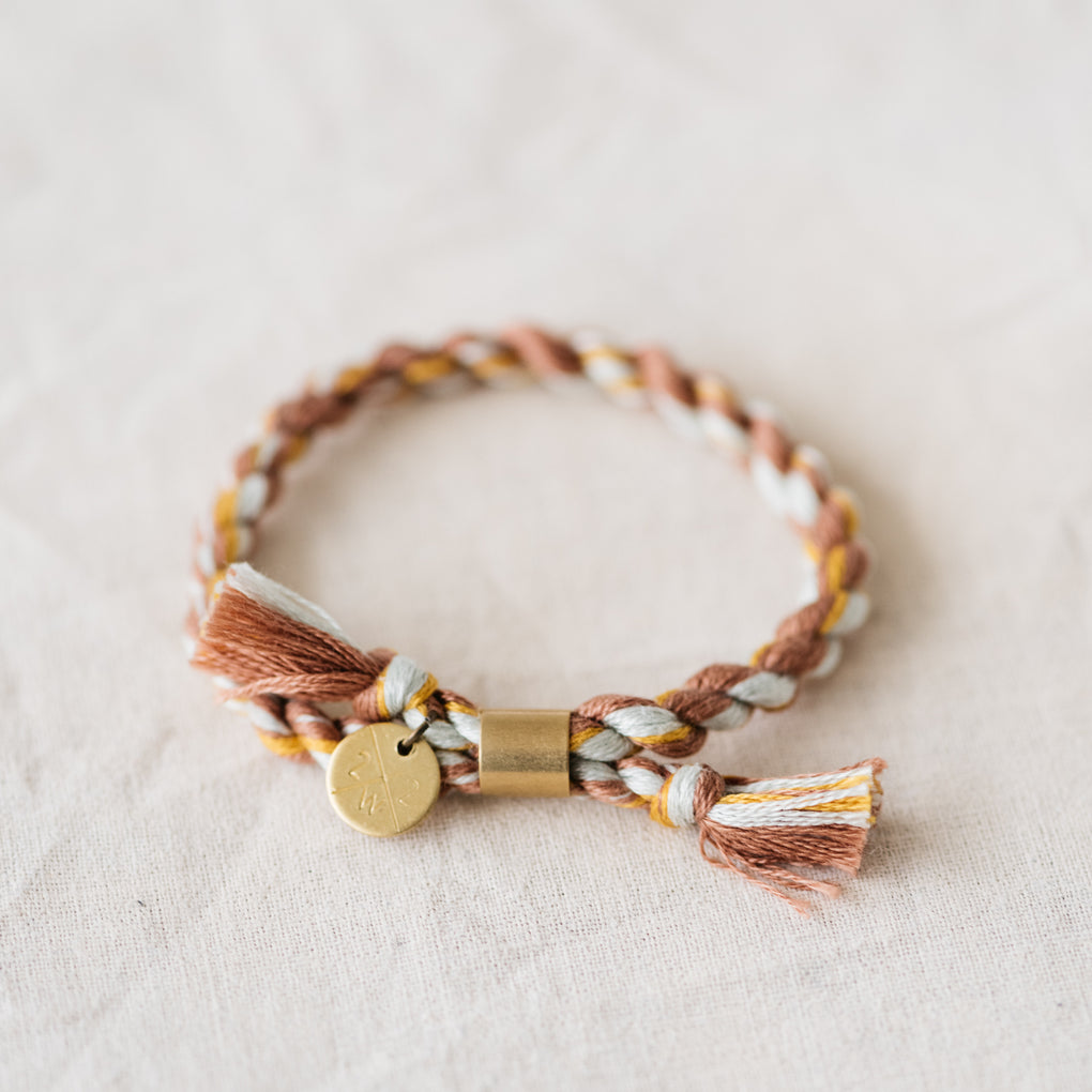 copper, yellow, and white hand spun rope bracelet