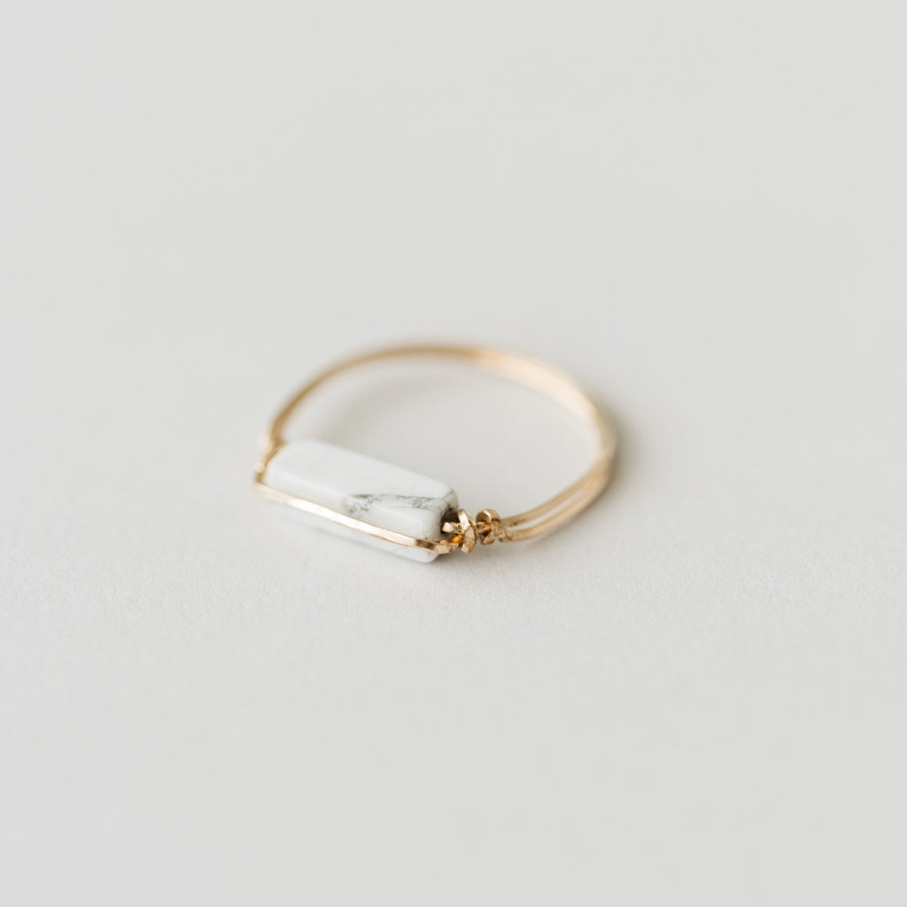 gold ring with marble bar