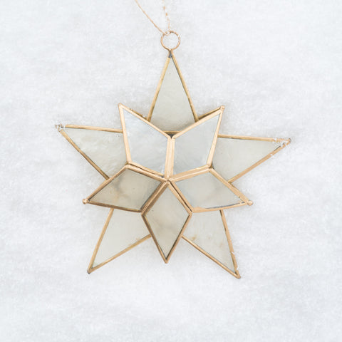 metal and glass gold star christmas ornament