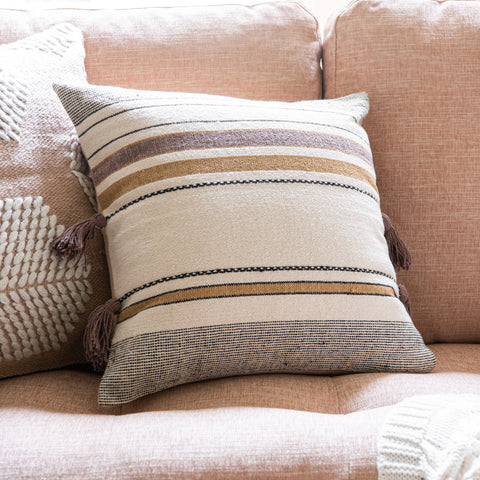 grey cream and gold striped modern pillow with gold tassels