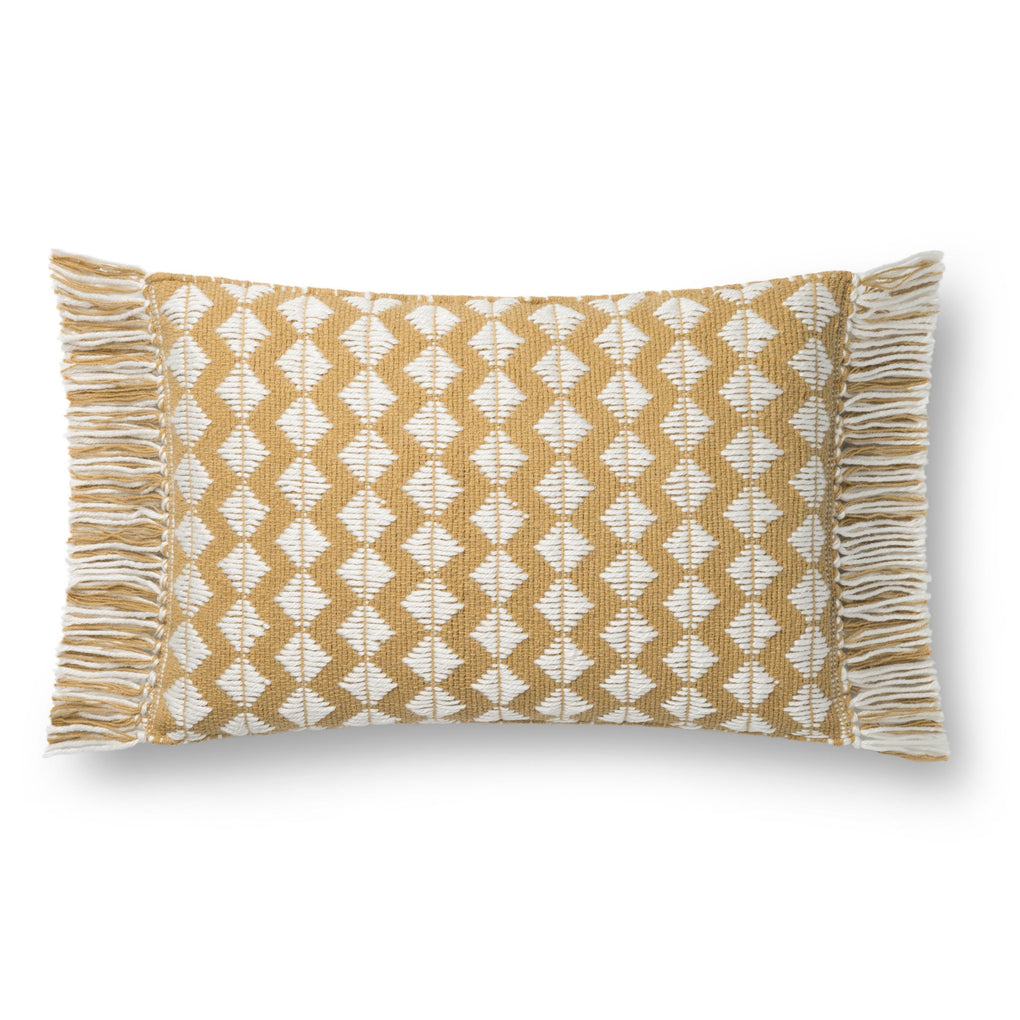 gold rectangular pillow with white diamond pattern and gold tassel fringe