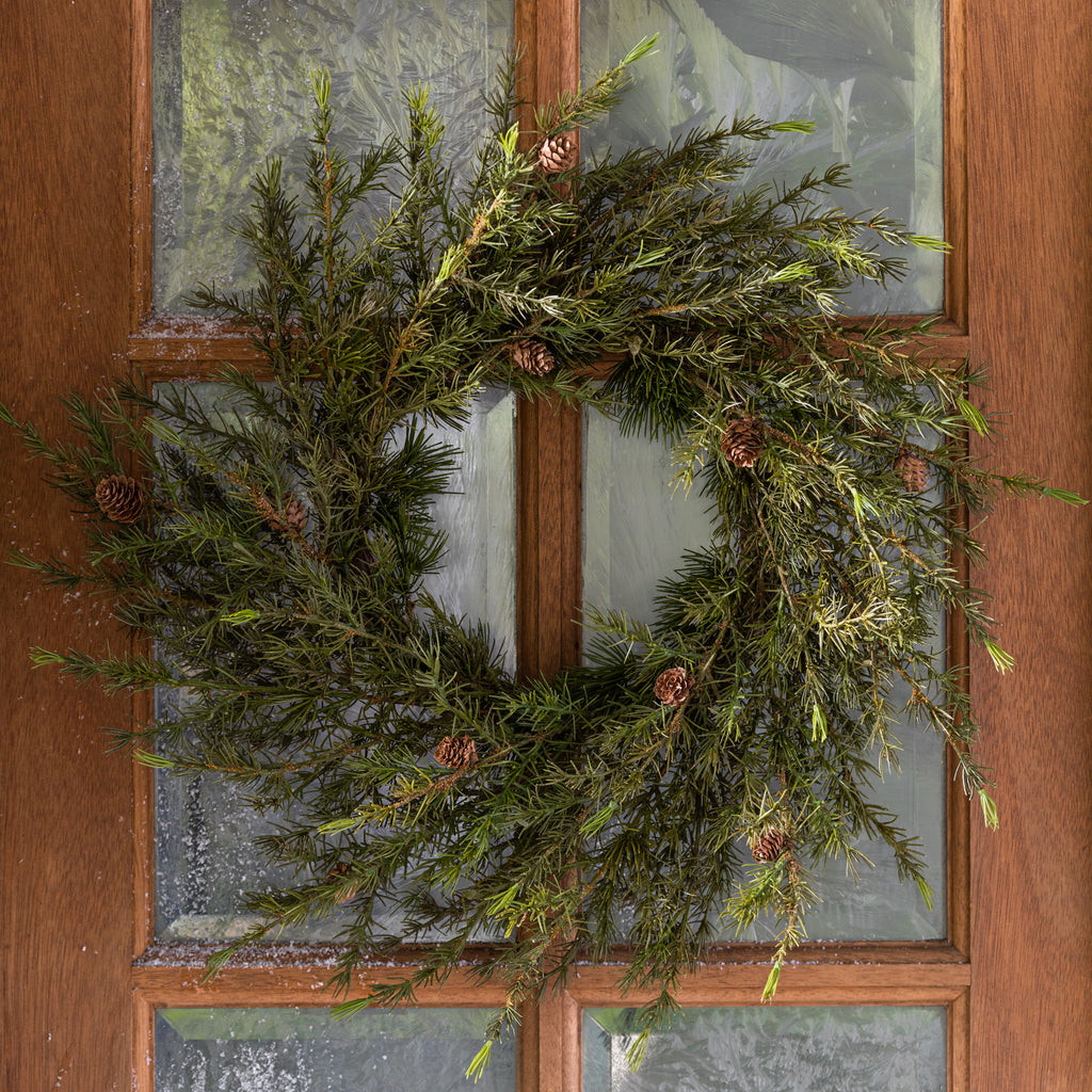 large faux pine wreath