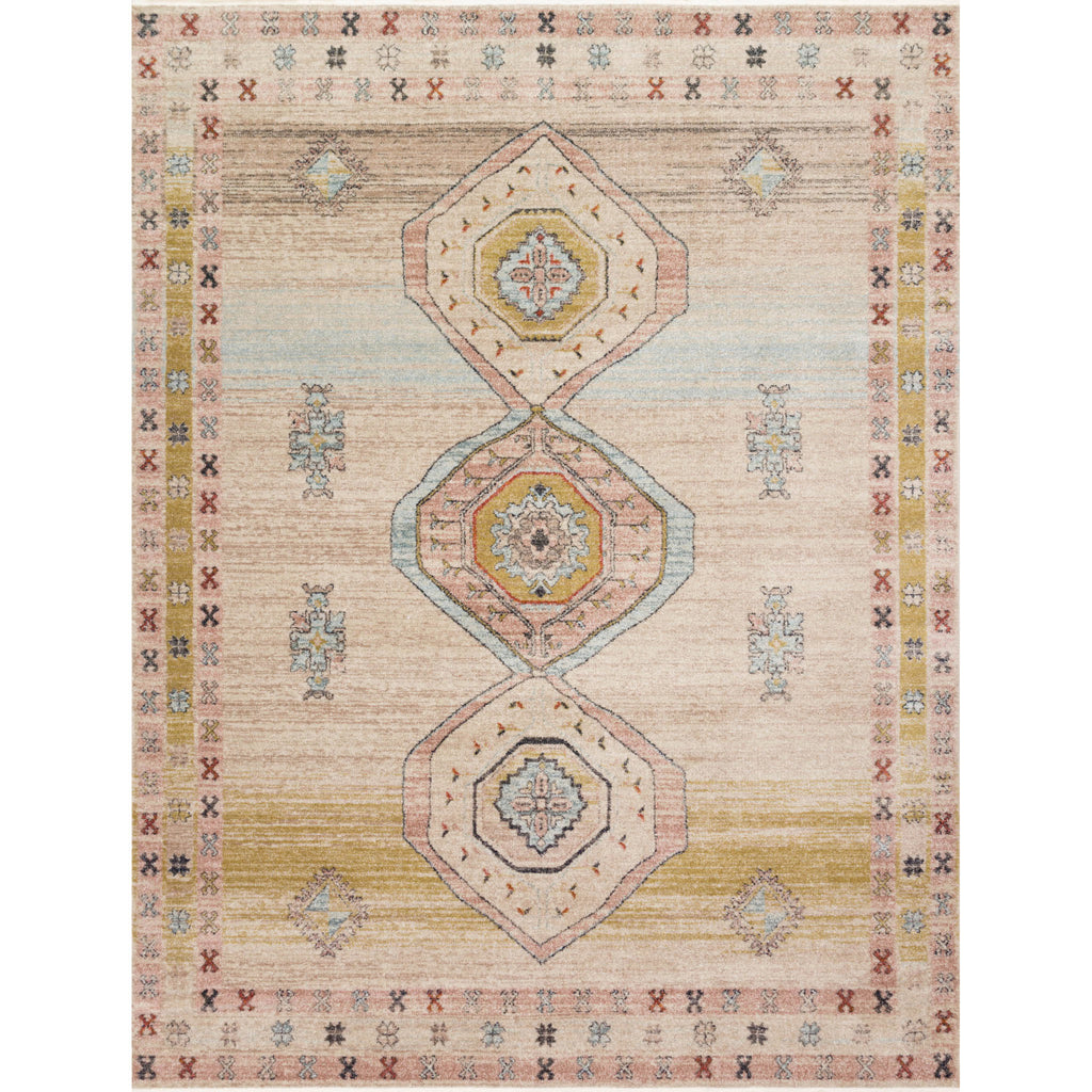 cream multi-colored rug with asymmetrical patterns and detail