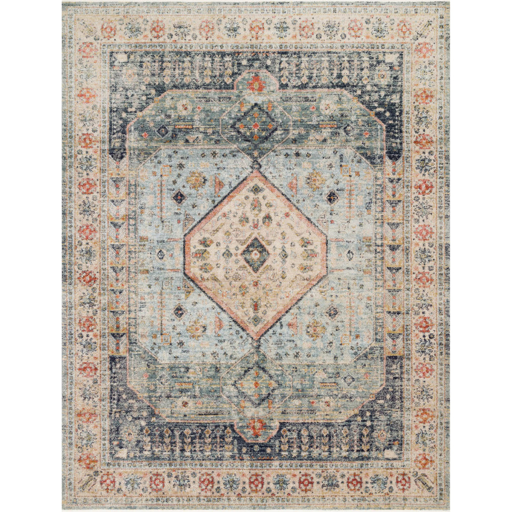 dark and light blue traditional rug with multi-colored detail