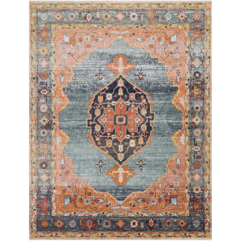 blue and orange traditional rug with multi-colored floral detail