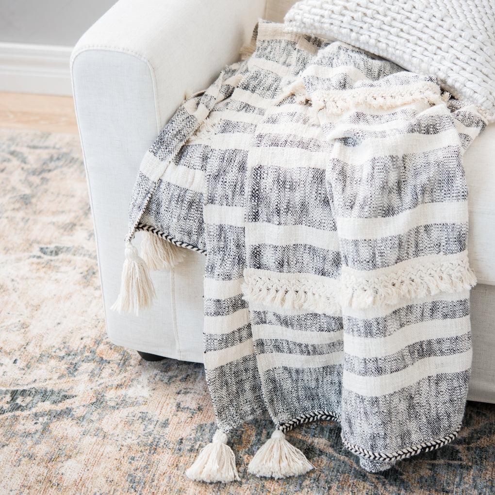 gray and ivory striped tassel throw