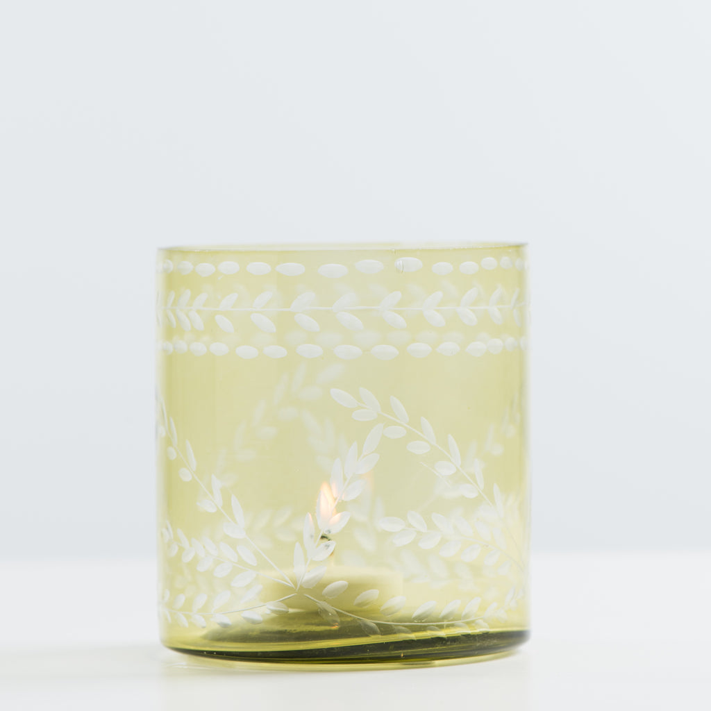 green etched glass votive candleholder