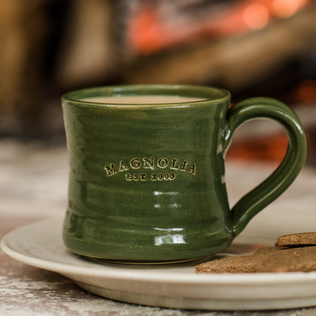 green magnolia holiday coffee mug