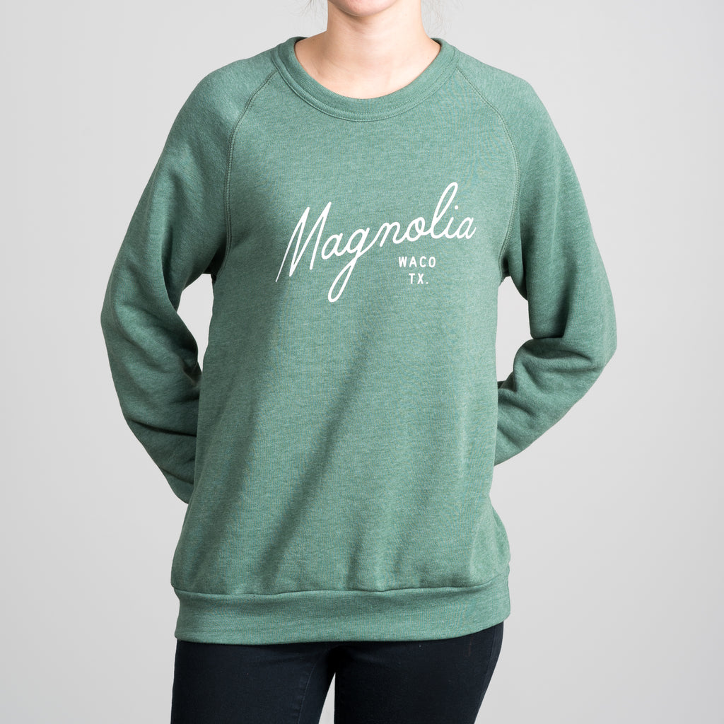 heathered green magnolia script sweatshirt