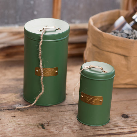 green metal string dispenser canister with jute string