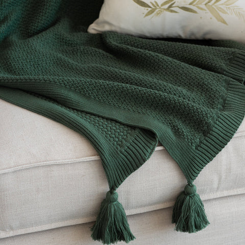 Green Macey Tassel Throw